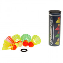 Speedminton Tube met 5 Mix Speeder